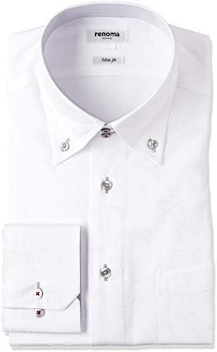 ビジネス ワイシャツ レノマ 形態安定 スリムフィット ドゥエ ボタンダウン ジャガード シロ 長袖シャツ メンズ 日本 M:39-84 (日本サイズM相当)