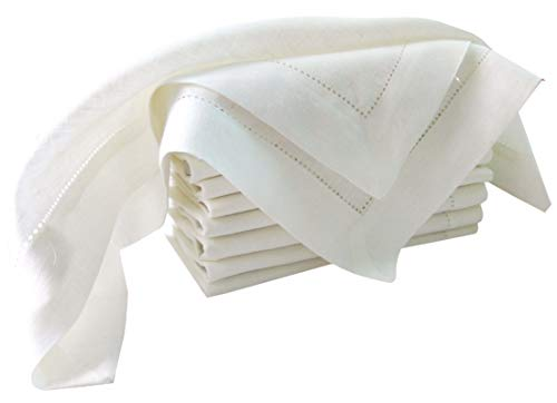 100% Pure Linen, Dinner Napkin with Hem Stitched 16x16 Inch White (Set of 12 Pack). Hemstitched Hand Made Ladder lace Look Napkins. One of Lifes Little Home Luxuries