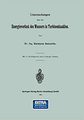 Book Untersuchungen über den Energieverlust des Wassers in Turbinenkanälen