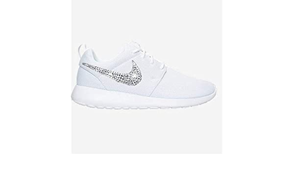 69456cc964377 Amazon.com  Swarovski NIKE Roshe One Casual Custom ALL WHITE Bedazzled  Kicks SparkleBoutique2U  Handmade