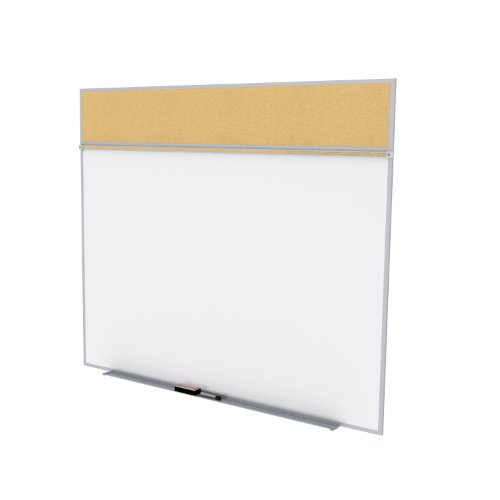 Ghent 5 x 6 Feet Combination Board, Porcelain Magnetic Whiteboard and Natural Cork Bulletin Board , Made in the USA