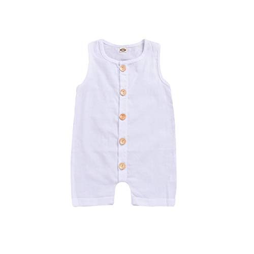 (Kissybaby Baby One Piece Outfits Toddler Sleeveless Romper Jumpsuits Pants Solid White Playsuit with Button Cotton Clothing (White, 18-24Months))