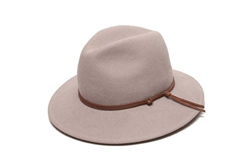 ale by Alessandra Women's Aurora Classic Adjustable Wool Felt Fedora Hat With Leather Trim and UPF 50+, Stone, Adjustable Head Size by ale by Alessandra