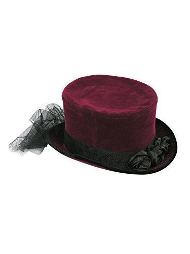 Forum Novelties Party Supplies Unisex-Adults Top Hat with Lace, Burgundy/Brown, Standard, Multi, Multicolor
