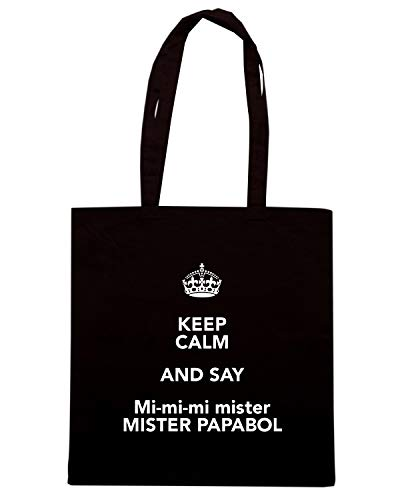 Borsa Shopper Nera TKC0178 KEEP CALM AND SAY MI MI MI MISTER MISTER PAPABOL