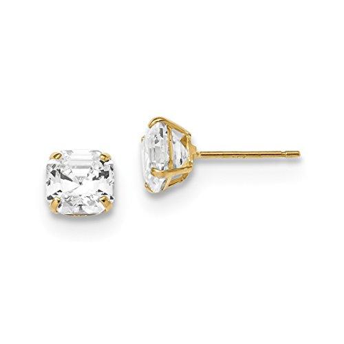 ICE CARATS 14kt Yellow Gold 6x6 Asscher Cut Cubic Zirconia Cz Studs Post Stud Ball Button Earrings Gemstone Fine Jewelry Ideal Gifts For Women Gift Set From Heart (Stud Asscher)
