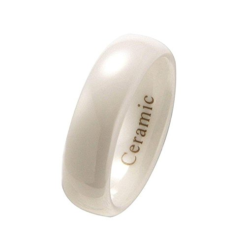 MJ Metals Jewelry 6mm White Ceramic Classic Style Wedding Ring High Polish Comfort Fit Size 10