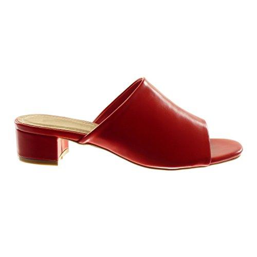 Bloc Chaussure Sandale Mode Femme Rouge Mule Slip 4 on Angkorly cm Talon Haut 4x1qw4