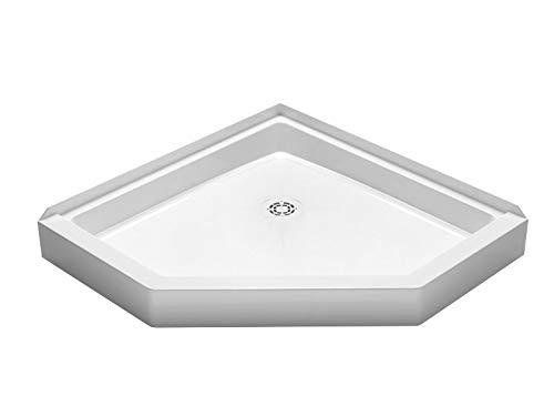 "PROFLO PFSB3636NEOWH Neo-Angle 36"" x 36"" Corner Shower Pan with White Strainer"