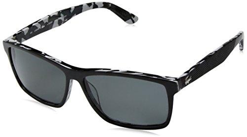 Lacoste Men's L705sp Polarized Rectangular Sunglasses, Black/Camouflage, 57 - Price Sunglasses Lacoste