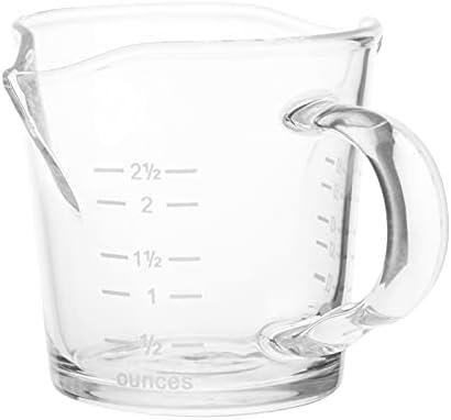 MagiDeal Vaso de medición de vidrio Espresso Jigger resistente al calor 70ML doble boquilla vaso de chupito con mango escala clara onza medida taza whisky