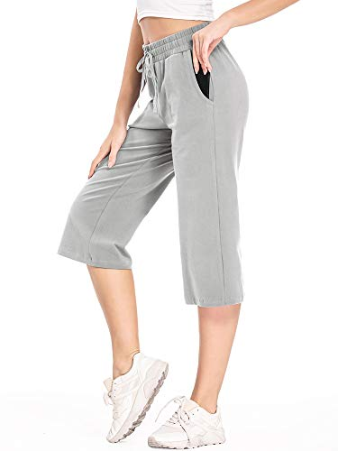 linlon Women's Capri Pants Yoga Lounge Crop Pants Open Bottom Pants Side Pockets, Grey,XS