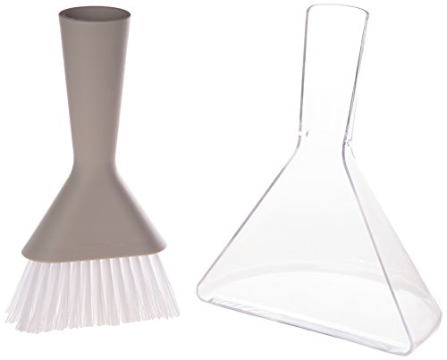 "Siliconezone Karim Collection 8.3"" Silicone Dust Pan & Brush Set, Gray"