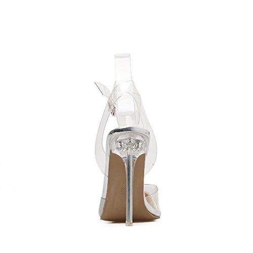 con che con di punti le alta Summer cavo ultra stati sandali ZHZNVX scarpe reticolo Donna sono Silver cinturino nuovo trasparente aqwBvaIpx