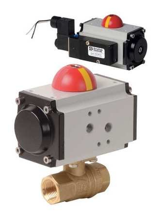 1'' FNPT Brass Pneumatic Ball Valve Inline by Dynaquip Controls