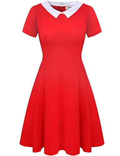 Aphratti Women's Short Sleeve Casual Peter Pan Collar Flare Dress Red -