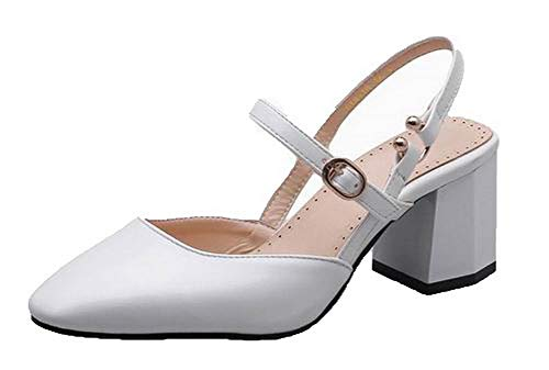 Sandals Women Kitten White Toe Closed Heels Pu Solid VogueZone009 Buckle CCALP015404 8dqpp