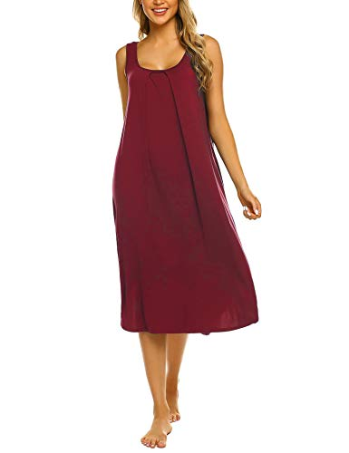 Ekouaer Sleeveless Nightgown Women Long Tank Sleepwear Vest Sleepshirt Wine Red