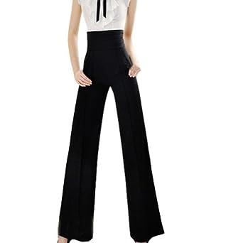 Vobaga Women's Vintage Long Pants High Waist Wide Leg Flared ...