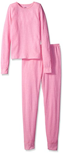 Fruit of the Loom Big Girls' Waffle Thermal Underwear 2-Piece, Intradeco Pink Slipper Heather, 10/12