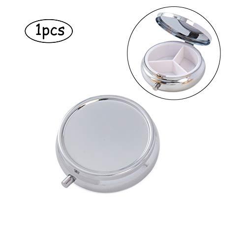 (Deksias Decorative Pill Box Organizer 3 Compartments Round Metal Medicine Case for Pocket Purse Travel(Silver & Gold) (1 Pcs,)