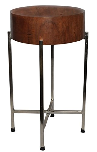 - Foreign Affairs Home Decor Sura Natural Wood Block Accent Table, Silvered Base