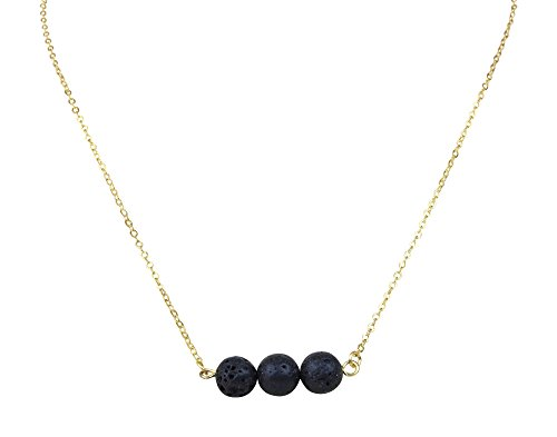 Floating Black Lava Rock Essential Oil Necklace Diffuser, Essential Oil Jewelry, Dainty Gold Toned Necklace