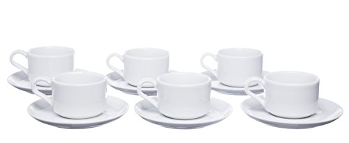Demitasse Germany (Stackable Espresso Cups and Square Saucers, 5.5 Ounce, Set for 6, White Porcelain, Restaurant Grade Quality - for Specialty Coffee Drinks, Latte, Cafe Mocca)
