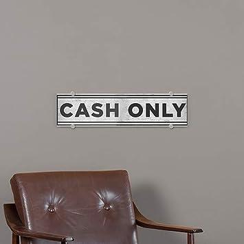Cash Only CGSignLab 5-Pack Basic Gray Premium Brushed Aluminum Sign 24x6