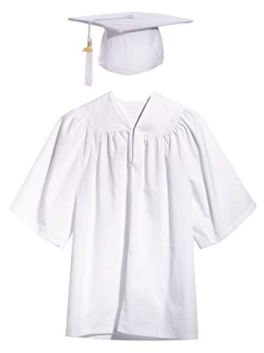 White Child Graduation Set, Cap, Gown, Tassel, Charm, Small