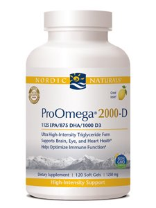 (Nordic Naturals ProOmega 2000-D - Fish Oil, 1125 mg EPA, 875 mg DHA, 1000 IU Vitamin D3, High-Intensity Support for Cardiovascular, Neurological, Eye, and Immune Health*, Lemon Flavor, 120 Soft Gels)