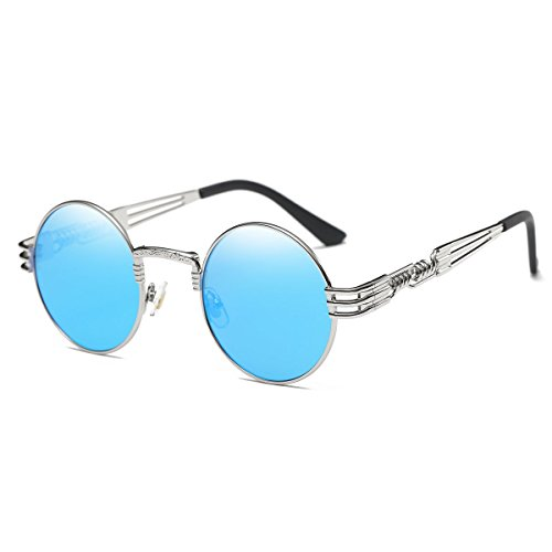 Dollger Blue Polarized Glasses Round Sunglasses Steampunk Metal Frame Circle ()