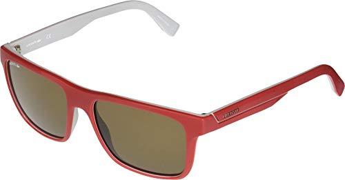 Lacoste Men's L876s Plastic Square Stripes & Piping Sunglasses, Matte Red/Grey 57 mm