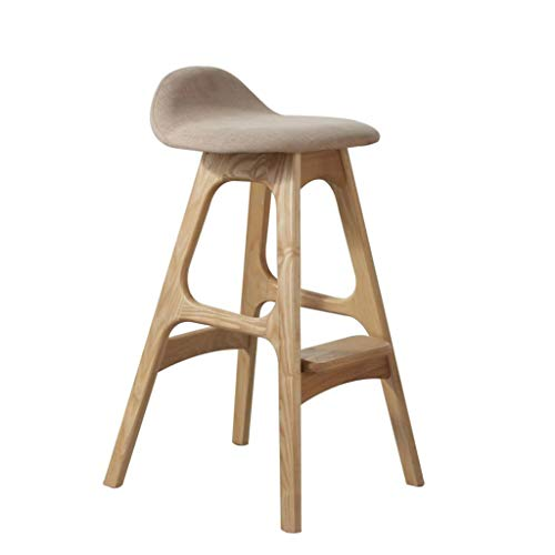 XNLIFE Simple Bar Stool Breakfast Chair Natural North American Manchurian Ash Wooden Legs Footstool Widening Green Cotton Fabric, Modern Minimalist Gray High Stool, Nordic Style for Kitchen Or Bar