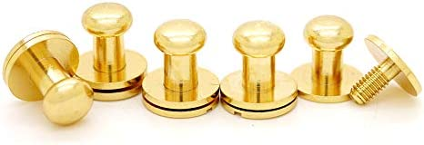 CRAFTMEmore Solid Brass Ball Head Stud Screw Back Nipple Rivet Studs Button Strap Stopper Leathercraft Gold Finish 10 Pack 5 mm