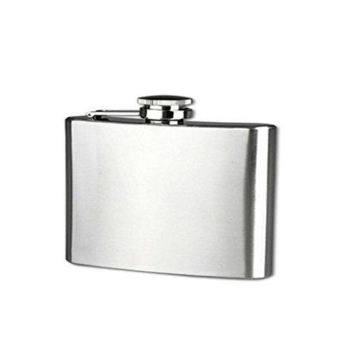 DDLBiz Luxury Stainless Steel Pocket Hip Flask Alcohol Whiskey Liquor Screw Cap Wine Bottle,Many Size Can Choose - Ounce 4 Flask Hip