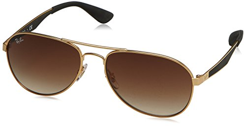 Ray-Ban RB3549 Aviator Sunglasses, Matte Gold/Brown Gradient, 58 ()