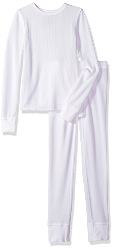 Fruit of the Loom Boys Waffle Thermal Underwear Top and Bottom Set Arctic White XS (4-5)