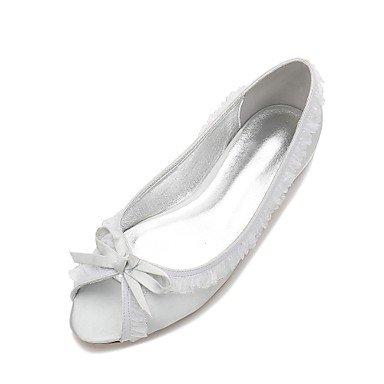 RTRY Las Mujeres'S Wedding Shoes Confort Satin Primavera Verano Boda Vestido De Noche &Amp; Rhinestone Bowknot Champán Heelivory Plana Rubí Azul Plata Us12 / Ue44 / Uk10 / Cn46 Silver|US12 / EU44 / UK10 / CN46