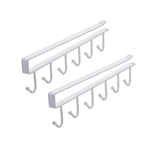 AUCH 2Pcs Multi-function Nail Free Under-the-closet Single Row Cup Coffee Mug Hooks Clapboard Interlayer Storage Rack Shelf Chest Tie Scarf Hanger Rack, Black
