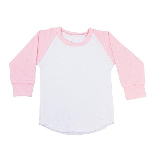 (Dress Up Dreams Boutique Unisex Baby Light Pink Two Tone Long Sleeve Raglan Baseball T-Shirt 12-18M)