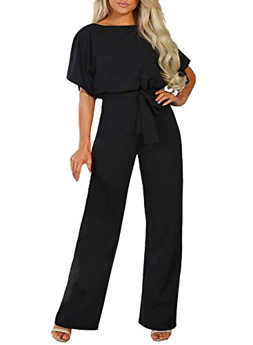 Happy Sailed Women Casual Loose Short Sleeve Belted Wide Leg Pant Romper Jumpsuits X-Large Black