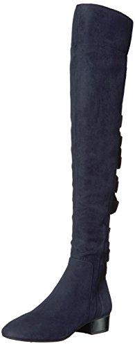 Nine West Women's Ooohaah Fabric Over The Knee Boot, Navy/Black Fabric, 9 Medium US