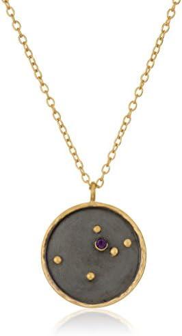 Satya Jewelry Zodiac Gold-Plated Amethyst Aquarius Constellation Necklace