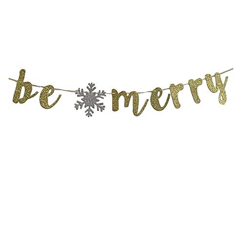 MAGQOO Be Merry Banner Gold Glitter Merry Christmas Sign Party Props Bunting ()