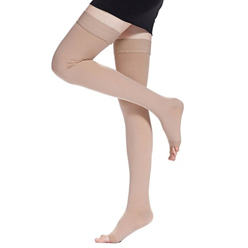 Zcargel Women's Medical Thigh High Overnight Compression Sock 20-30mmHg Stockings (Open Toe, Nude) by Zcargel