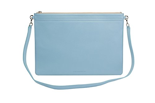 Lauren Cecchi New York Folio – Genuine Italian Leather Handbag for Women – Sky Blue & Sand with Silver Hardware – Made in New York City by Lauren Cecchi New York