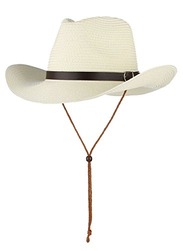 (Cowboy Hat Western Style Fedora Straw Hat Summer Sun Hat with Chin Strap (White))