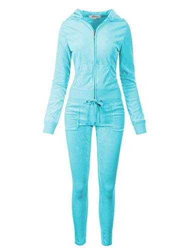 (Instar Mode Women's Casual Basic Solid Soft Velour Zip up Hoodie Sweatsuit Set Turquoise L)