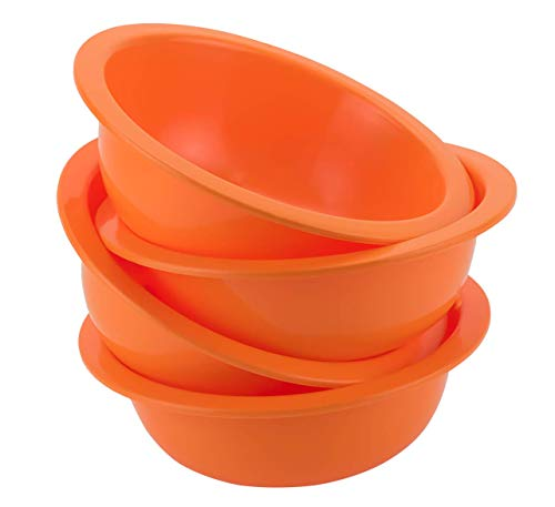 DecorRack Set of 4 Cereal Bowls, Soup Bowl for Salad, Fruit, Dessert, Snack, Small Serving and Mixing Bowls, BPA Free - Plastic, Shatter Proof and Unbreakable, Orange, 28 oz (Set of 4) - Orange Small Bowl